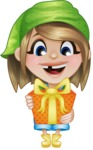 Little Farm Girl Cartoon Vector Character AKA Harper the Farm Helper - Holding a Gift