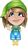 Little Farm Girl Cartoon Vector Character AKA Harper the Farm Helper - Waving for Goodbye with a Hand