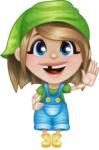 Little Farm Girl Cartoon Vector Character AKA Harper the Farm Helper - Waving for Hello with a Smiling Face