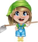 Little Farm Girl Cartoon Vector Character AKA Harper the Farm Helper - Holding Grab Hoe