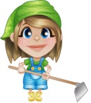 Little Farm Girl Cartoon Vector Character AKA Harper the Farm Helper - Working with Grab Hoe