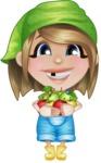 Little Farm Girl Cartoon Vector Character AKA Harper the Farm Helper - Holding Fresh Apples from Tree