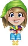 Little Farm Girl Cartoon Vector Character AKA Harper the Farm Helper - With Tomatoes, Corn,  and Eggplant