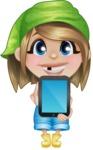 Little Farm Girl Cartoon Vector Character AKA Harper the Farm Helper - Showing a Blank Tablet