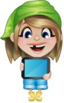 Little Farm Girl Cartoon Vector Character AKA Harper the Farm Helper - Holding Tablet with Blank Screen