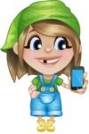 Little Farm Girl Cartoon Vector Character AKA Harper the Farm Helper - Holding a Mobile Phone