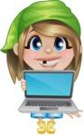 Little Farm Girl Cartoon Vector Character AKA Harper the Farm Helper - Presenting on a Laptop