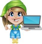 Little Farm Girl Cartoon Vector Character AKA Harper the Farm Helper - With a Computer
