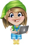 Little Farm Girl Cartoon Vector Character AKA Harper the Farm Helper - Holding a Laptop