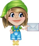 Little Farm Girl Cartoon Vector Character AKA Harper the Farm Helper - With Mail Envelope