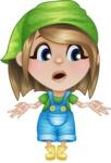 Little Farm Girl Cartoon Vector Character AKA Harper the Farm Helper - Feeling Confused and Lost