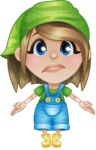 Little Farm Girl Cartoon Vector Character AKA Harper the Farm Helper - Feeling Lost with Sad Face