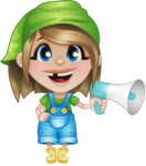 Little Farm Girl Cartoon Vector Character AKA Harper the Farm Helper - Holding a Loudspeaker