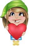 Little Farm Girl Cartoon Vector Character AKA Harper the Farm Helper - Being Romantic and Holding Heart