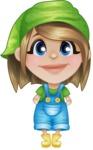 Little Farm Girl Cartoon Vector Character AKA Harper the Farm Helper - Smiling