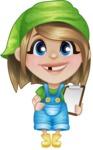 Little Farm Girl Cartoon Vector Character AKA Harper the Farm Helper - With a Notepad