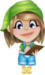 Little Farm Girl Cartoon Vector Character AKA Harper the Farm Helper - Writing on a Notepad