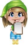 Little Farm Girl Cartoon Vector Character AKA Harper the Farm Helper - Explaining with a Blank Notepad
