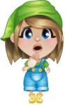Little Farm Girl Cartoon Vector Character AKA Harper the Farm Helper - Making Oops gesture