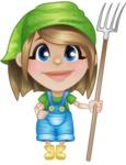 Little Farm Girl Cartoon Vector Character AKA Harper the Farm Helper - Holding Pick Fork