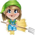 Little Farm Girl Cartoon Vector Character AKA Harper the Farm Helper - Farming with Pick Fork and Hayrick