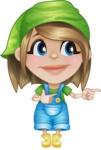 Little Farm Girl Cartoon Vector Character AKA Harper the Farm Helper - Pointing and Smiling