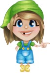 Little Farm Girl Cartoon Vector Character AKA Harper the Farm Helper - Pointing with Hands