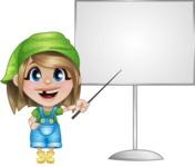 Little Farm Girl Cartoon Vector Character AKA Harper the Farm Helper - With Blank Whiteboard
