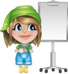 Little Farm Girl Cartoon Vector Character AKA Harper the Farm Helper - With Blank Presentation Board