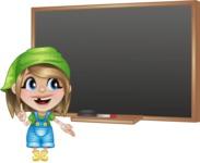 Little Farm Girl Cartoon Vector Character AKA Harper the Farm Helper - Pointing with a Pointer on Blackboard