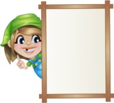Little Farm Girl Cartoon Vector Character AKA Harper the Farm Helper - Presenting on Whiteboard