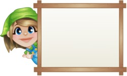 Little Farm Girl Cartoon Vector Character AKA Harper the Farm Helper - With Whiteboard and Smiling