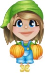Little Farm Girl Cartoon Vector Character AKA Harper the Farm Helper - With Pumpkins