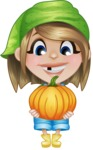 Little Farm Girl Cartoon Vector Character AKA Harper the Farm Helper - Holding Big Pumpkin