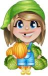 Little Farm Girl Cartoon Vector Character AKA Harper the Farm Helper - Holding Cabbage and Pumpkin