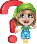 Little Farm Girl Cartoon Vector Character AKA Harper the Farm Helper - With Question Mark