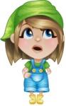 Little Farm Girl Cartoon Vector Character AKA Harper the Farm Helper - Rolling Eyes