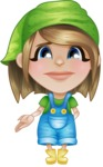 Little Farm Girl Cartoon Vector Character AKA Harper the Farm Helper - Feeling Sad