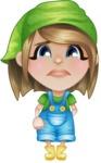 Little Farm Girl Cartoon Vector Character AKA Harper the Farm Helper - With Sad Face