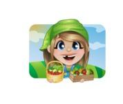 Little Farm Girl Cartoon Vector Character AKA Harper the Farm Helper - Illustration on a Sunny Day with Fields Background