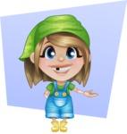 Little Farm Girl Cartoon Vector Character AKA Harper the Farm Helper - Smiling with Simple Shape Circle Background