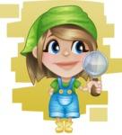 Little Farm Girl Cartoon Vector Character AKA Harper the Farm Helper - Searching and Flat Background Illustration
