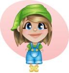 Little Farm Girl Cartoon Vector Character AKA Harper the Farm Helper - With Simple Flat Background