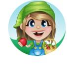 Little Farm Girl Cartoon Vector Character AKA Harper the Farm Helper - Holding Apples with Outdoor Background Illustration