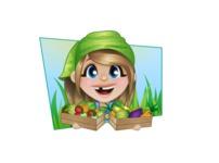 Little Farm Girl Cartoon Vector Character AKA Harper the Farm Helper - With Vegetables and Simple Sunny Background Illustration