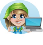 Little Farm Girl Cartoon Vector Character AKA Harper the Farm Helper - Being Modern with Laptop Illustration with Background