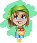 Little Farm Girl Cartoon Vector Character AKA Harper the Farm Helper - With Fruits Basket and Simple Background Illustration