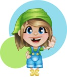 Little Farm Girl Cartoon Vector Character AKA Harper the Farm Helper - With Welcoming Gesture and Flat Background Illustration