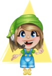 Little Farm Girl Cartoon Vector Character AKA Harper the Farm Helper - With Headphones in Support Center Illustration with Flat Background