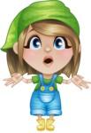 Little Farm Girl Cartoon Vector Character AKA Harper the Farm Helper - Feeling Shocked
